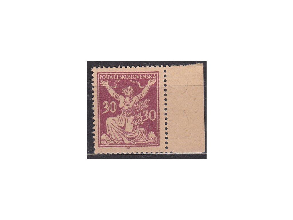30h fialová, kraj. zoubkovaný ZT na nahnědlém papíru bez lepu, zk.Vrba, Nr.153