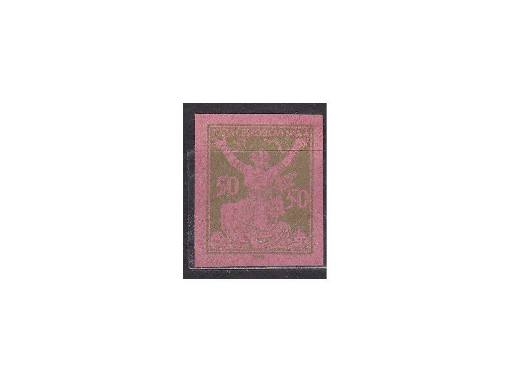 50h zelená, nezoubk. ZT na růžovém papíru, Nr.156, bez lepu