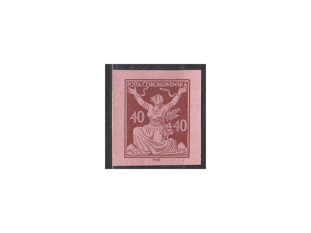 40h hnědá, nezoubk. ZT na růžovém papíru, Nr.154, bez lepu, nádherné střihy