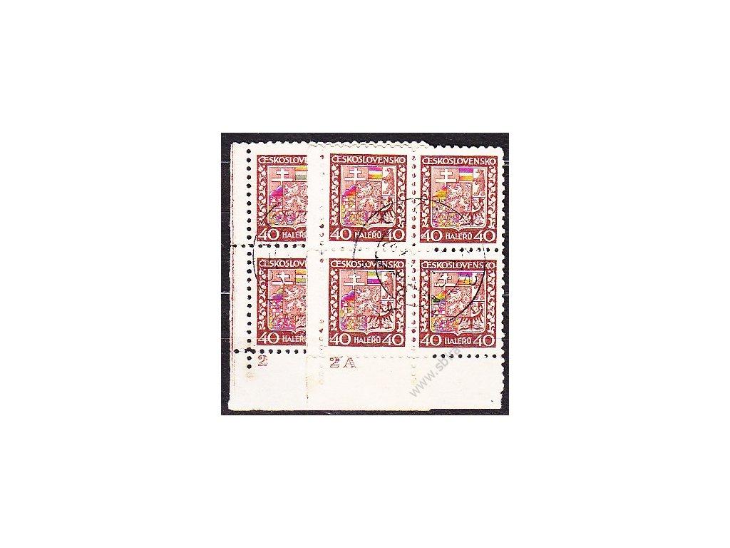 40h červenohnědá, 2 roh. 4bloky s DČ 2,2A, Nr.253, razítkované, ilustrační foto