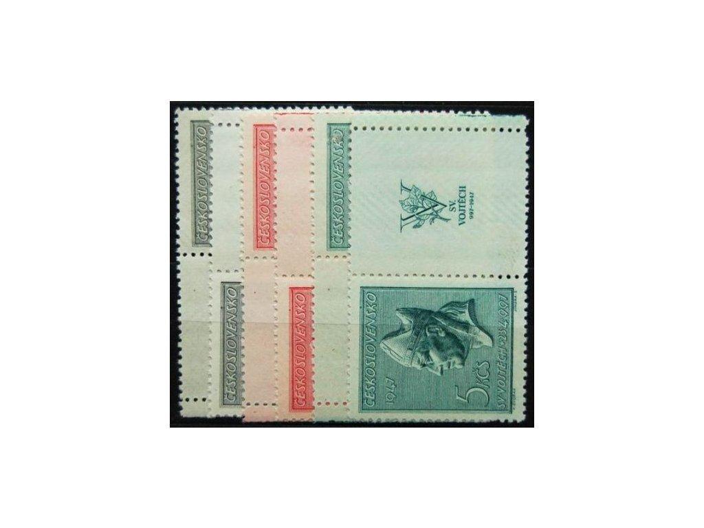 1947, 1.60-5Kčs sv.Vojtěch, Nr.450-52, KL+KP, **