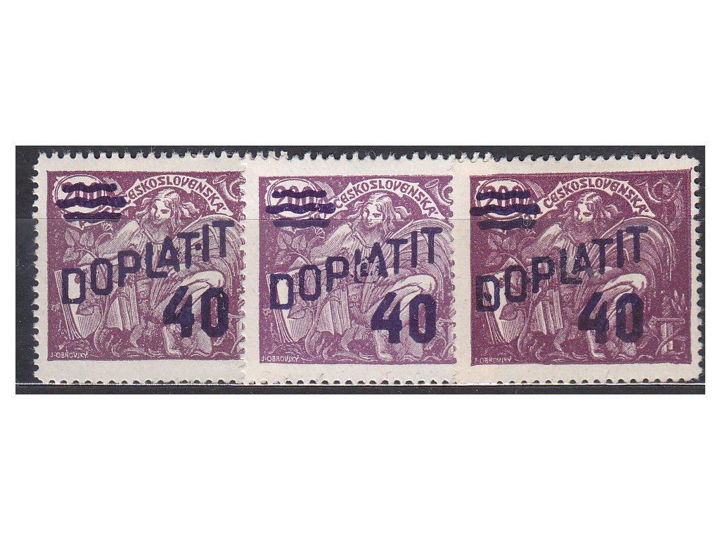 40/200h fialová, 3 ks, každá zn. tečky u přetisku, Nr.DL43, * po nálepce