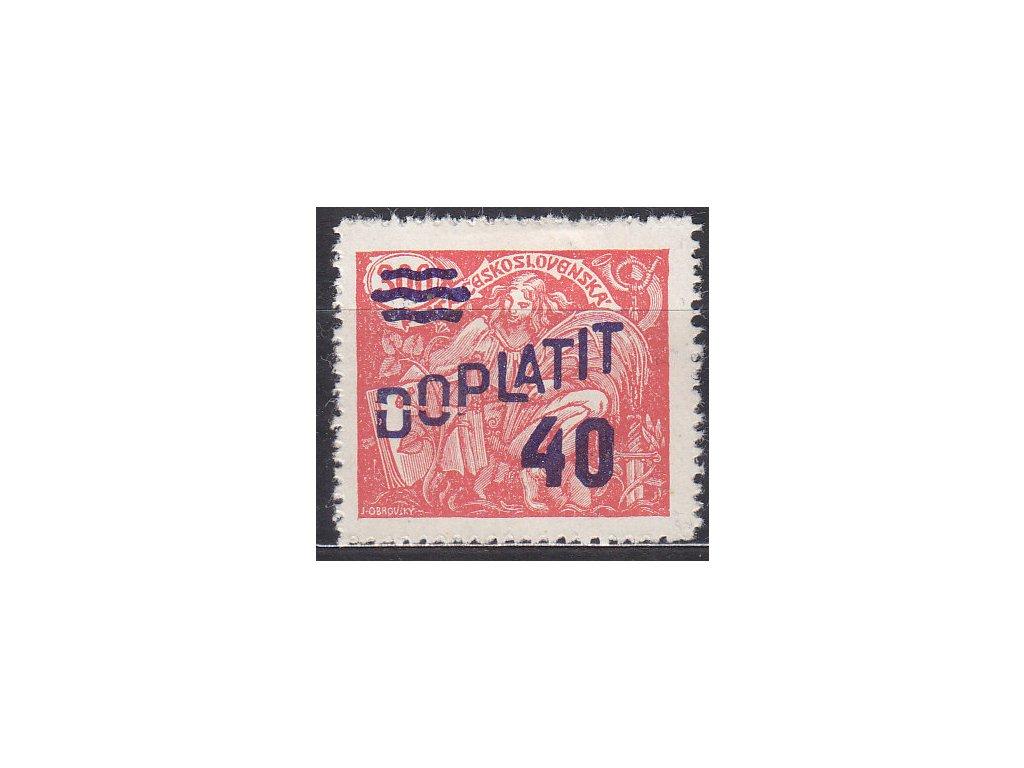 """40/300h červená, DV - nedotisk přetisku přes písmena """"DOP"""", Nr.DL44, * po nálepce"""