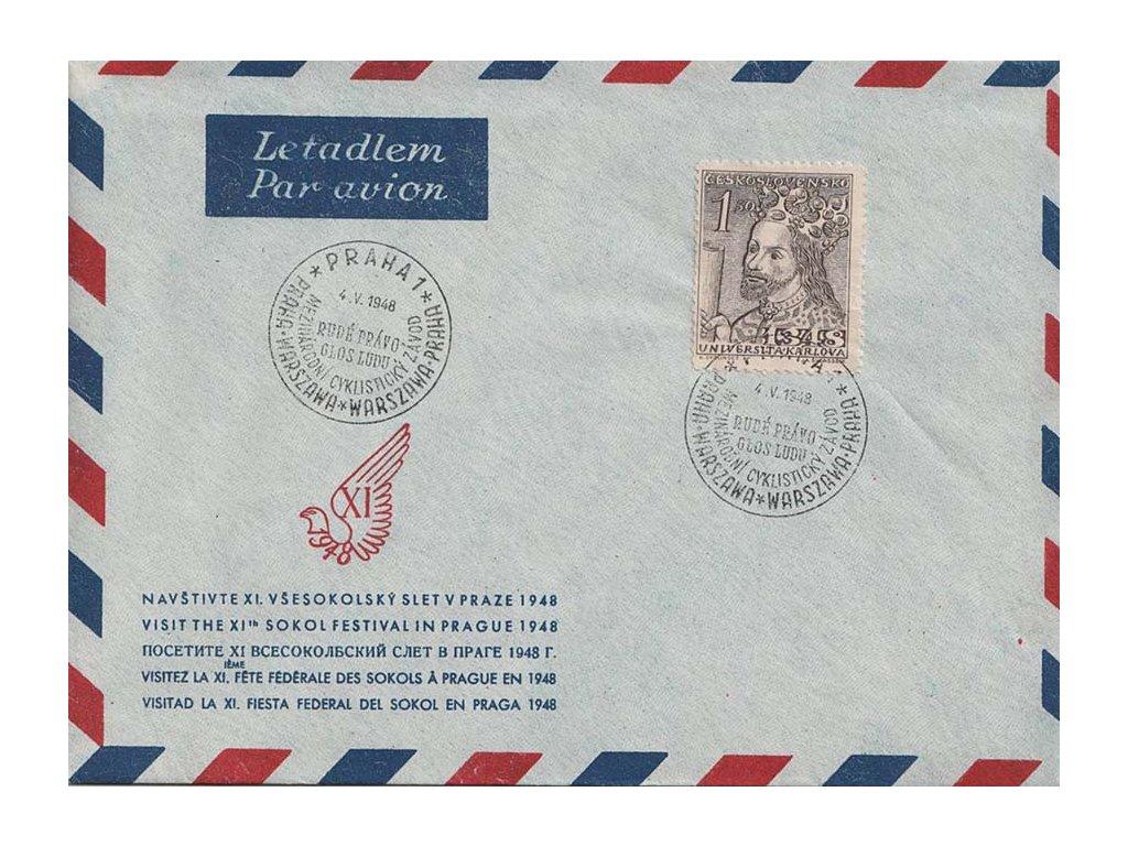 1948, Praha, Mezinárodní cyklistický závod, dopis, neprošlé