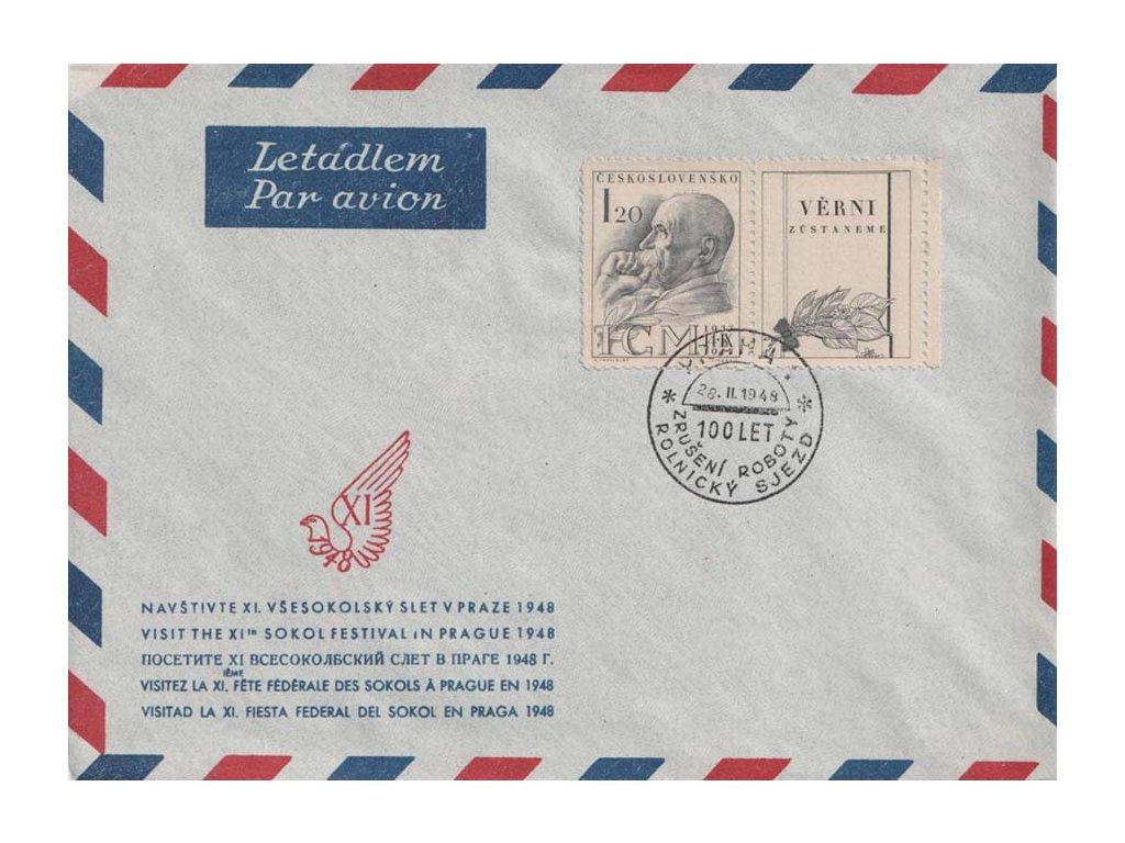 1948, Praha, 100 let Zrušení roboty, Rolnický sjezd, dopis,