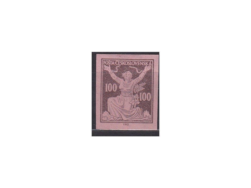 100h hnědá, nezoubk. ZT na růžovém papíru, Nr.158, bez lepu