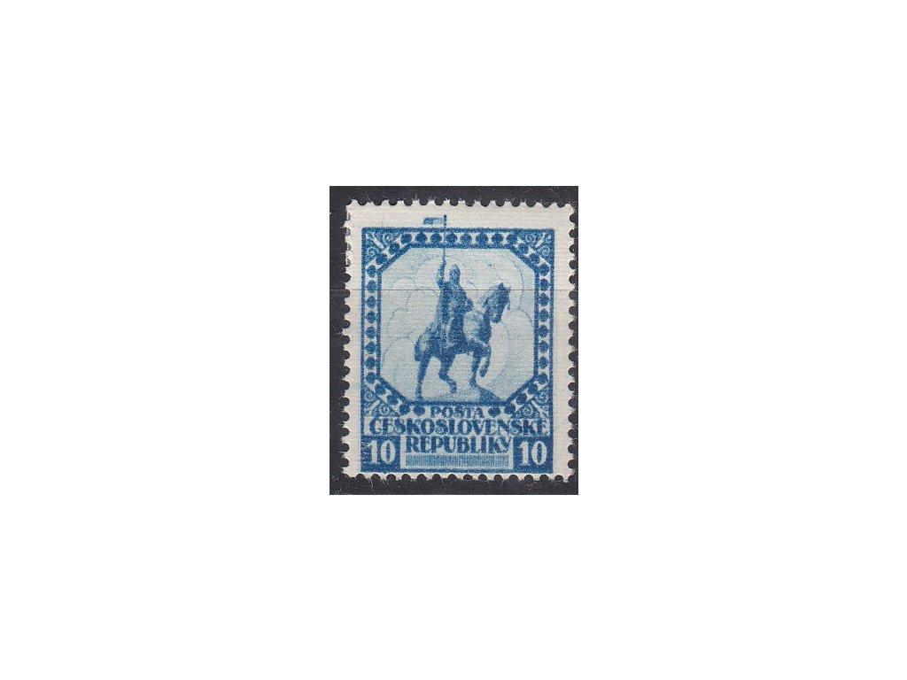Nerealizovaný návrh na čs. zn. 10h sv. Václav v barvě modré na známkovém papíru s lepem, tiskárna HAASE, * po nálepce