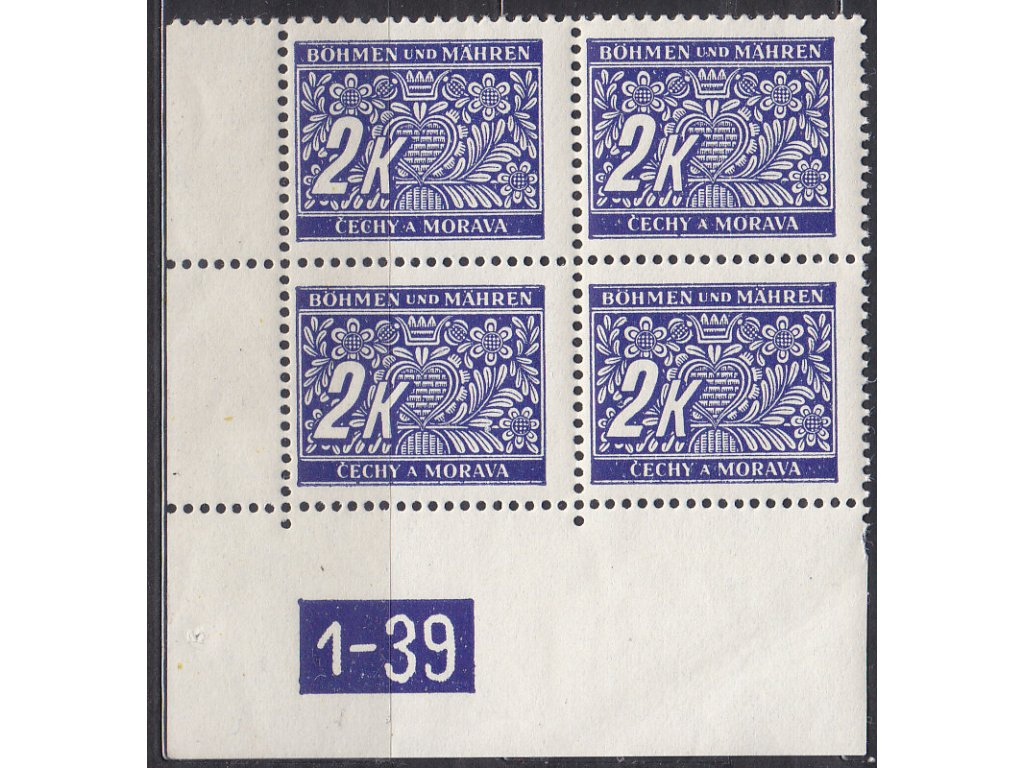 2K modrá, levý roh. 4blok s DČ1-39, varianta X, Nr.DL11, **