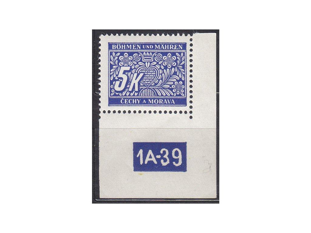 5K modrá, pravý roh. kus s DČ1A-39, varianta Y, Nr.DL12, **