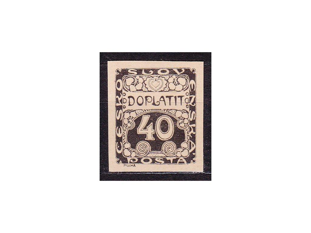 40h černá, ZT na nahnědlém papíru, Nr.DL7, bez lepu