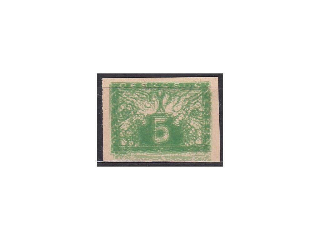 5h zelená, ZT na nahnědlém papíru - dvojitý tisk, Nr.S2, bez lepu