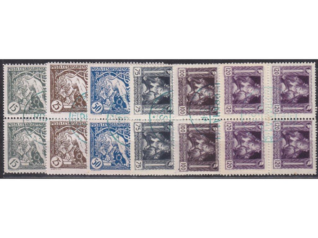 15-120h série, 4bloky, zelené nátisky - kruh, Nr.27-32, **/*