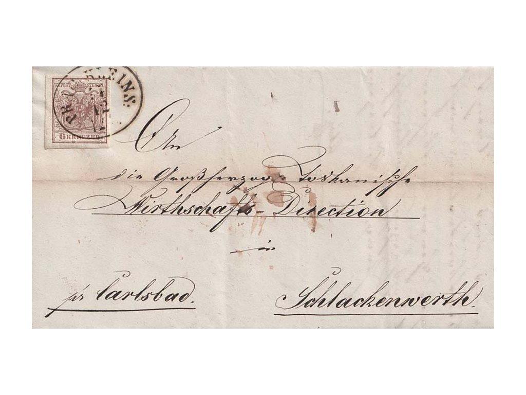 1854, DR Prag Kleins, skládaný dopis zaslaný do Schlackenwertu