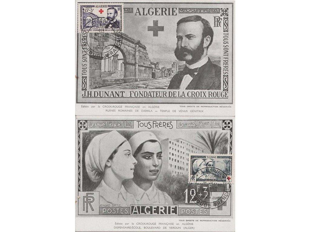 Alžír, 1954, Carte Maxima Červený kříž, dv na líci, neprošlé