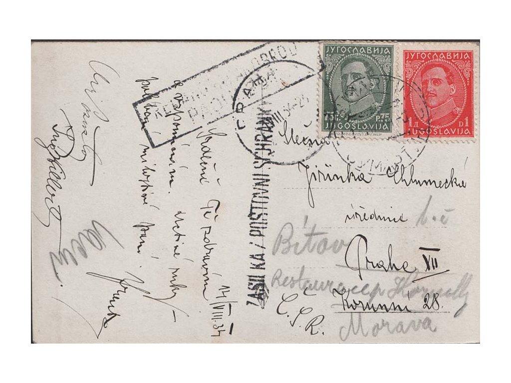 1934, DR Split, pohlednice zaslaná do Prahy, paroplavba