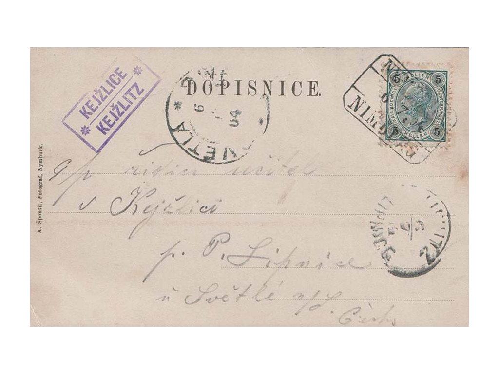 1904, DR Nymburk + poštovna Kejžice, pohlednice, prošlé
