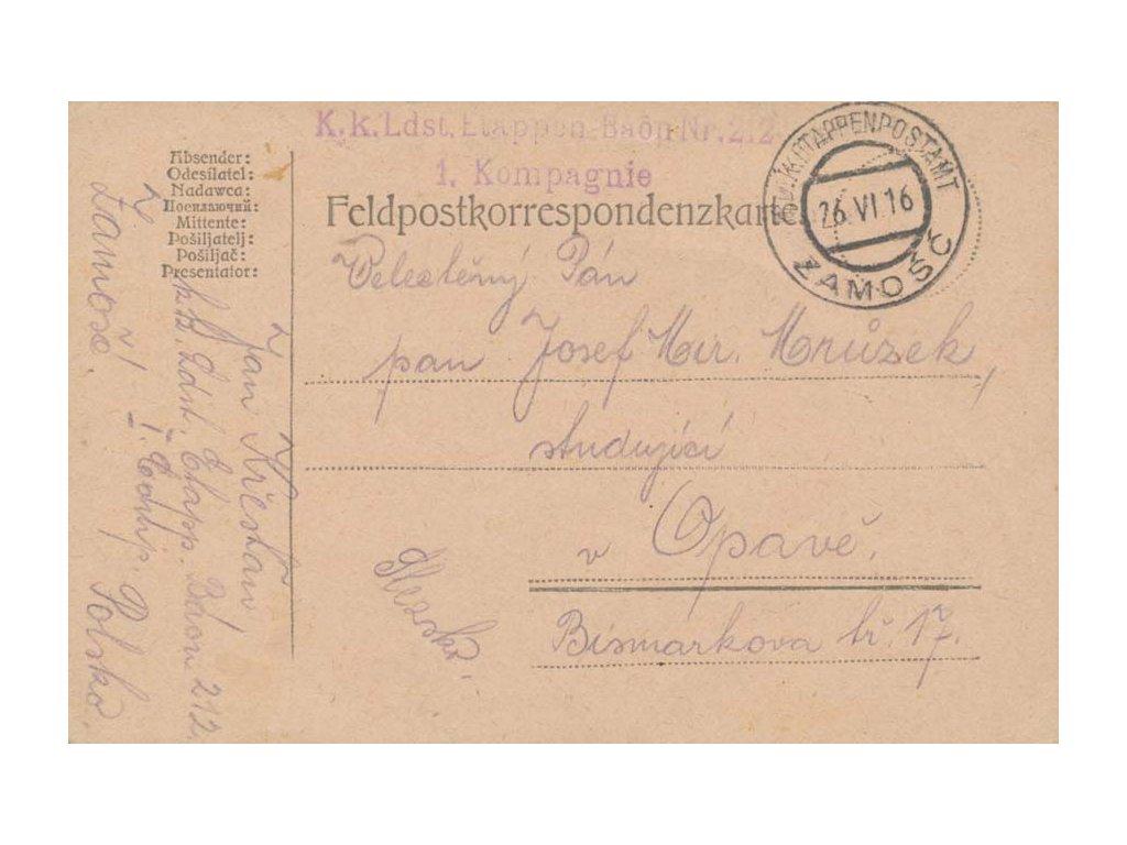 Zamošč, lístek PP zaslaný v roce 1916 do Opavy, lehká omačkání