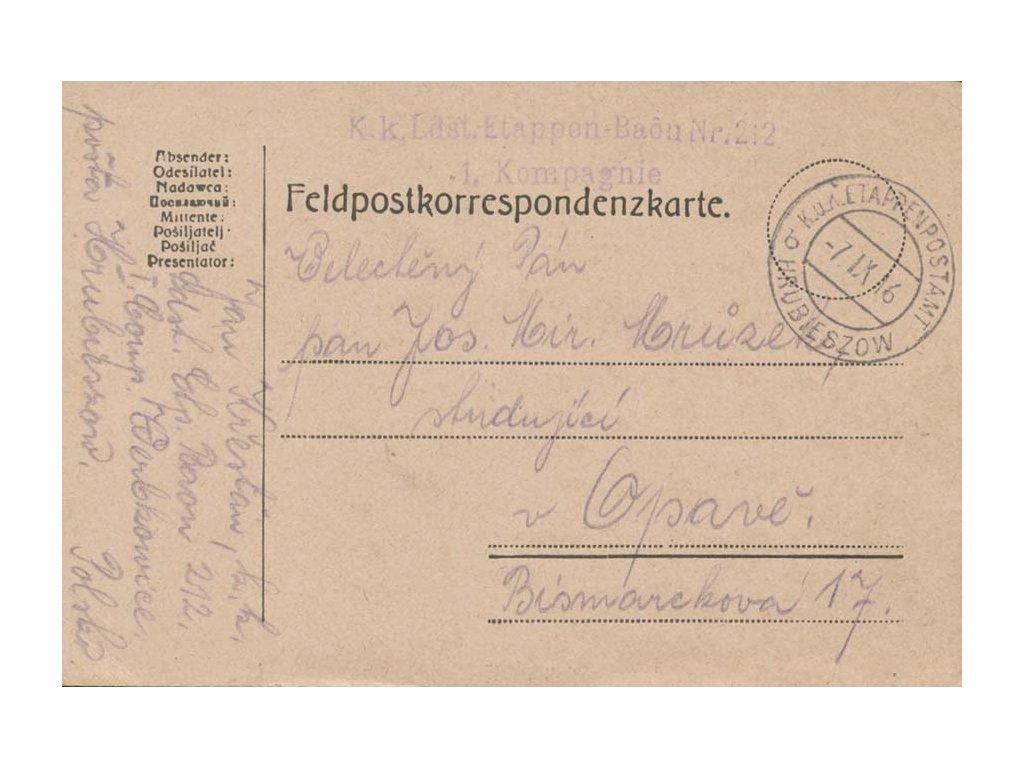 Hrubieszow b, lístek PP zaslaný v roce 1916 do Opavy, dv růžek