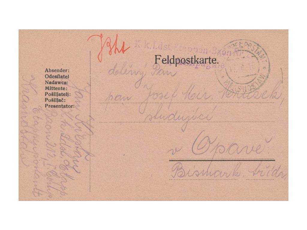 Krasnostaw, lístek PP zaslaný v roce 1916 do Opavy