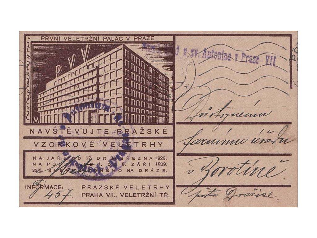 1930, DR Praha, firemní lístek zaslaný do Borotína