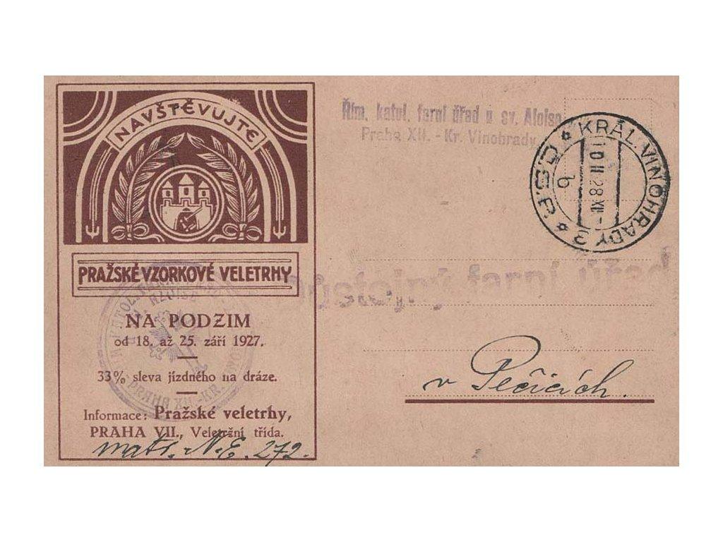 1928, DR Král. Vinohrady, firemní lístek zaslaný do Pečic