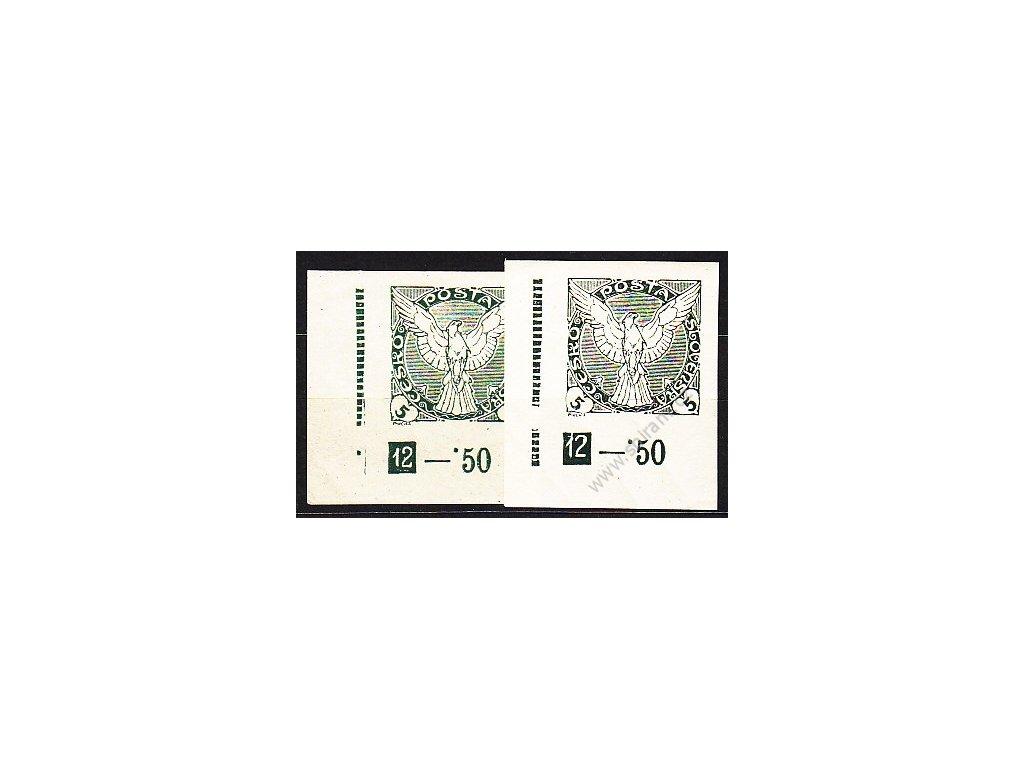 5h zelená, 2 roh. kusy s DČ 12 - různé desky, Nr.NV2, **/*