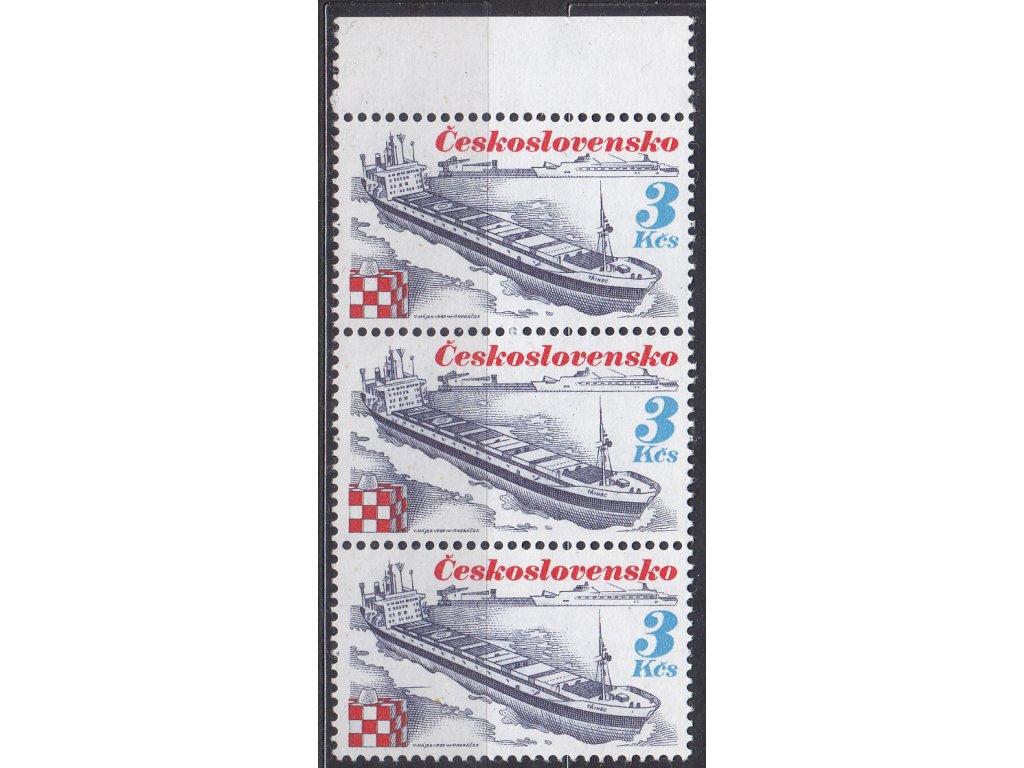 1989, 3Kčs Námořní plavba, kraj. 3páska s DV - čára nad kostkou, Nr.2888, **