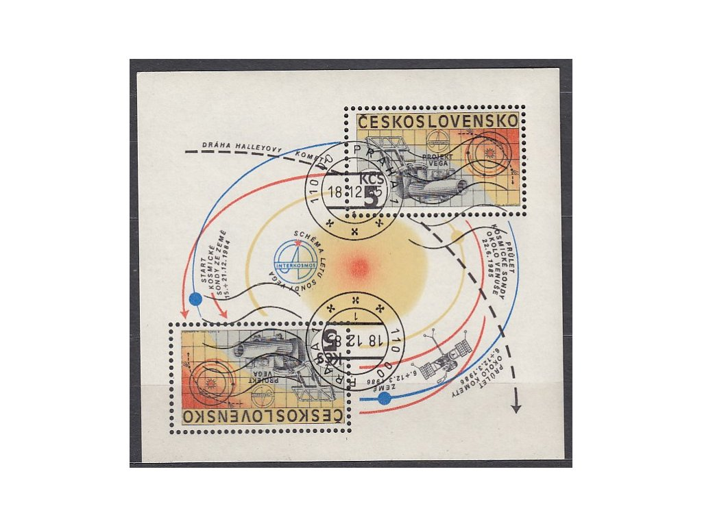 1985, 5Kčs aršík Interkosmos, strojové razítko, Nr.A2692