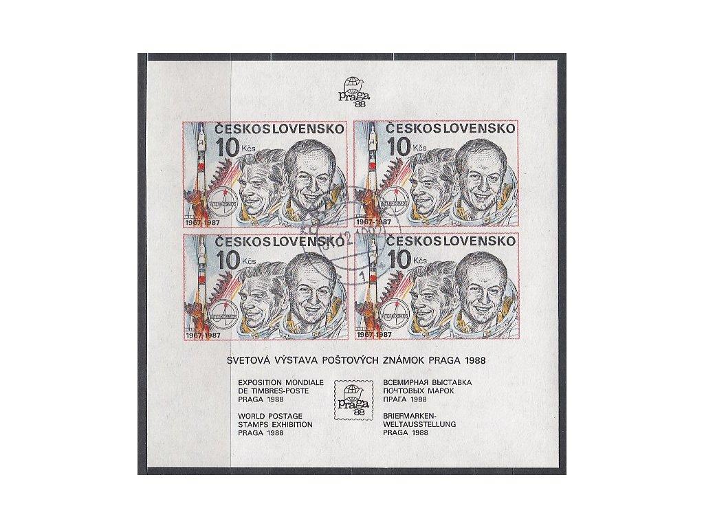 1987, 10Kčs nezoubkovaný aršík Interkosmos, Nr.A2817A, razítkované, denní razítko