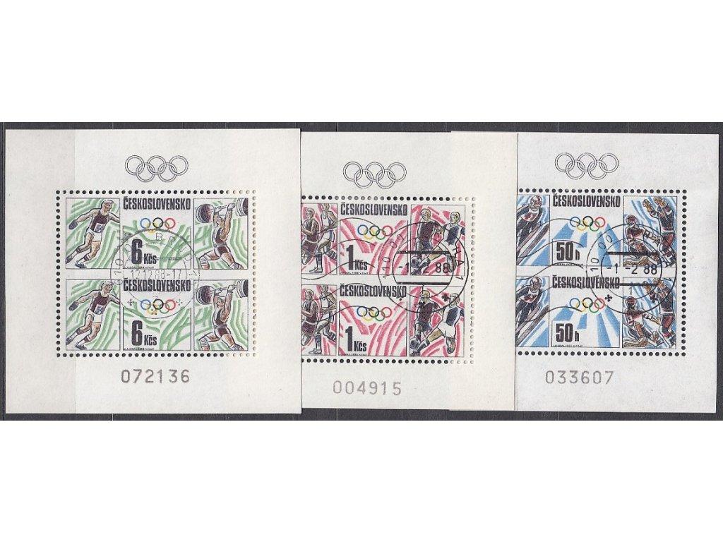 1988, 50h-6Kčs Olympijské hry, Nr.A2826-8, razítkované, 1krát denní