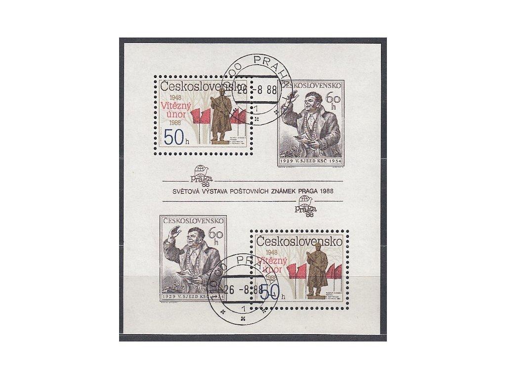 1988, 50-60h aršík Výročí Února, Nr.A2864-5A, razítkované, denní razítko