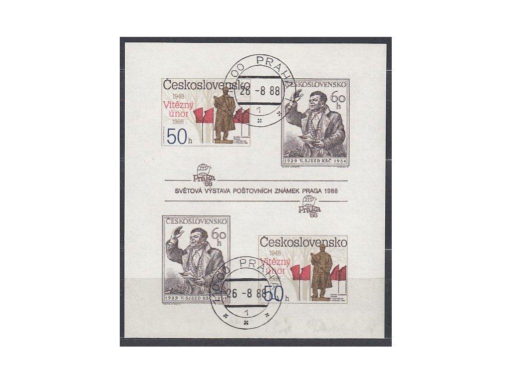1988, 50-60h nezoubk. aršík Výročí Února, Nr.2864-5B, razítkované, denní razítko