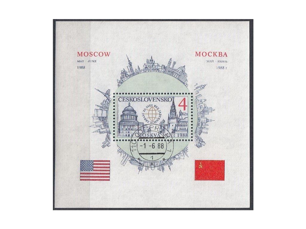 1988, 4Kčs zoubkovaný aršík Moskva, A2852A, razítkované, denní razítko
