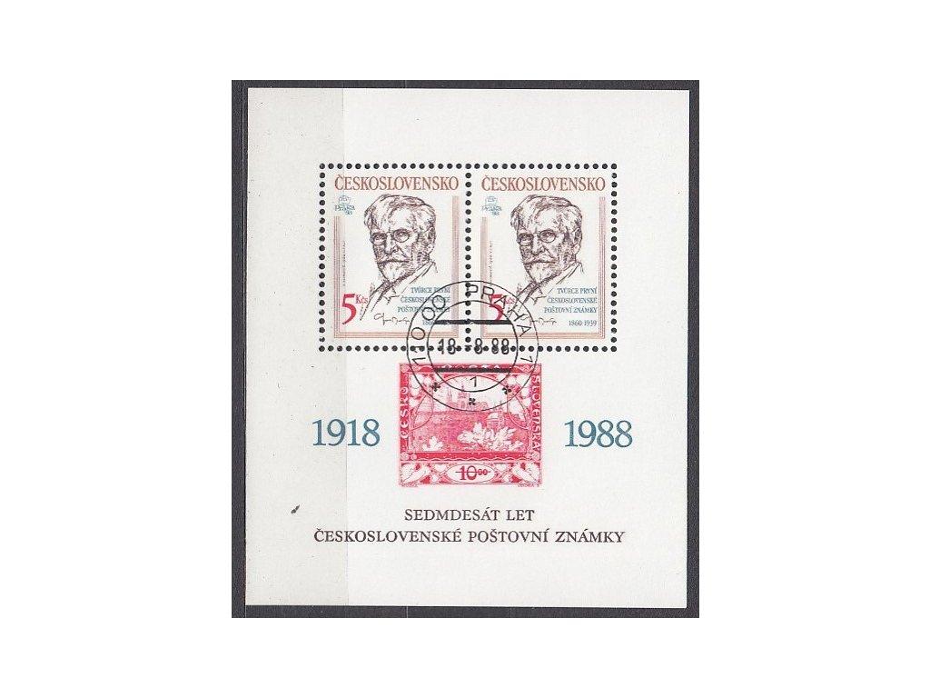 1988, 5Kčs aršík 70.let čs známky, Nr.A2859, razítkované, denní razítko