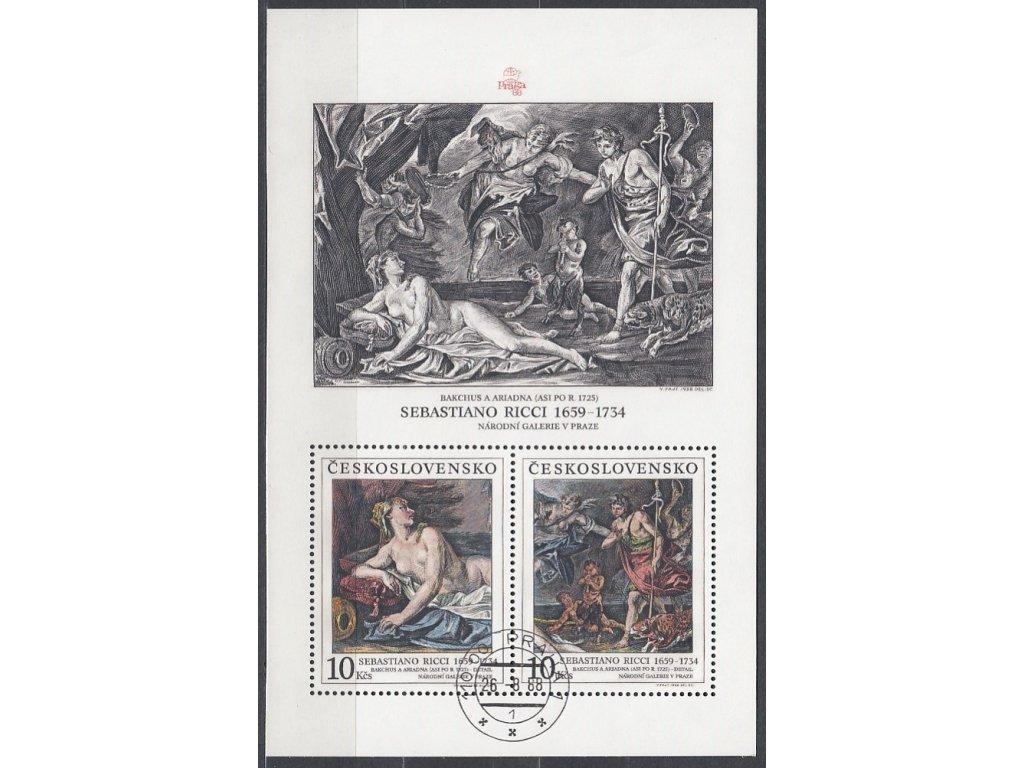 1988, 10Kčs aršík S.Ricci, Nr.2861/62A, razítkované, denní razítko