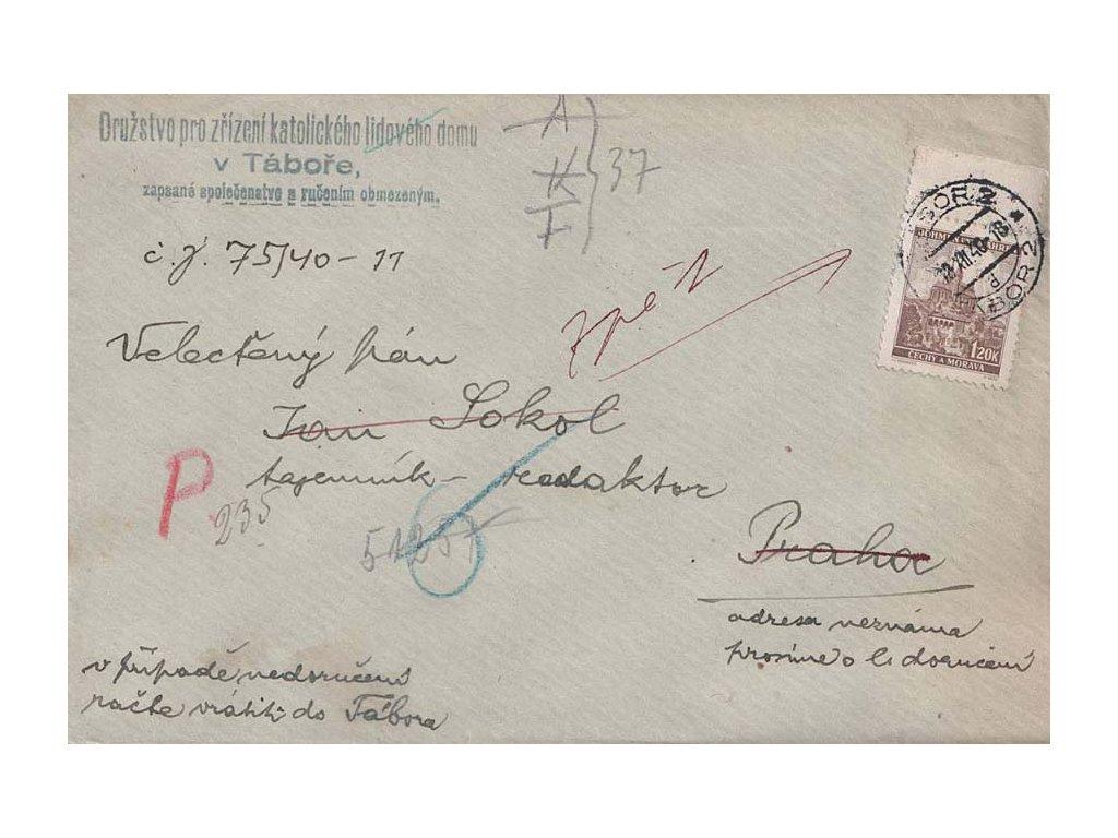 1940, DR Tábor, dopis zasl. do Prahy s nedostatečnou adresou