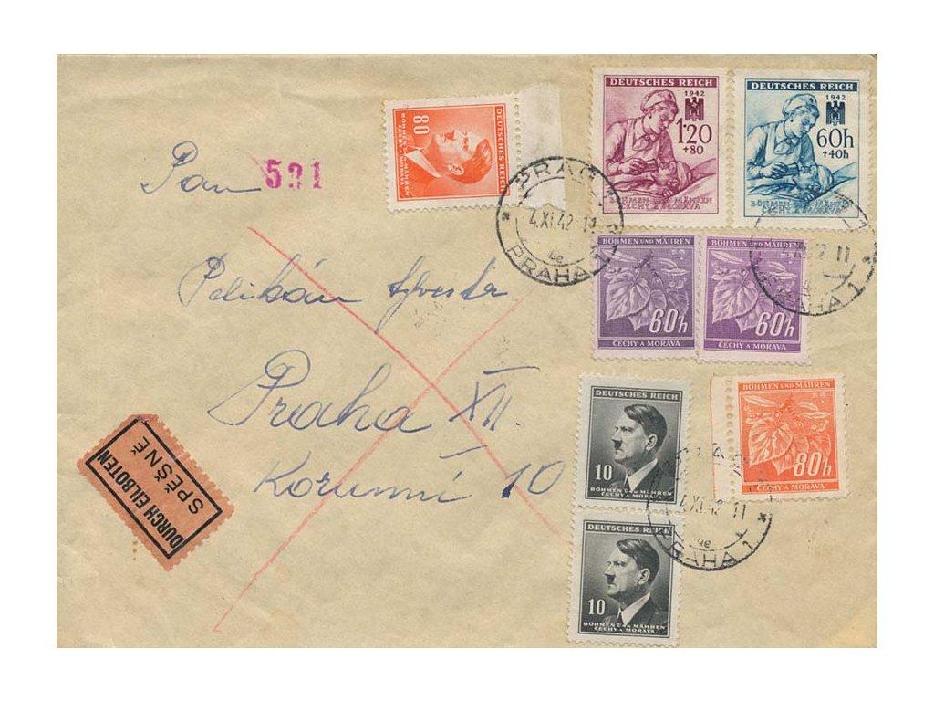 1942, DR Praha, Ex dopis zaslaný v Praze, dekorativní frankatura