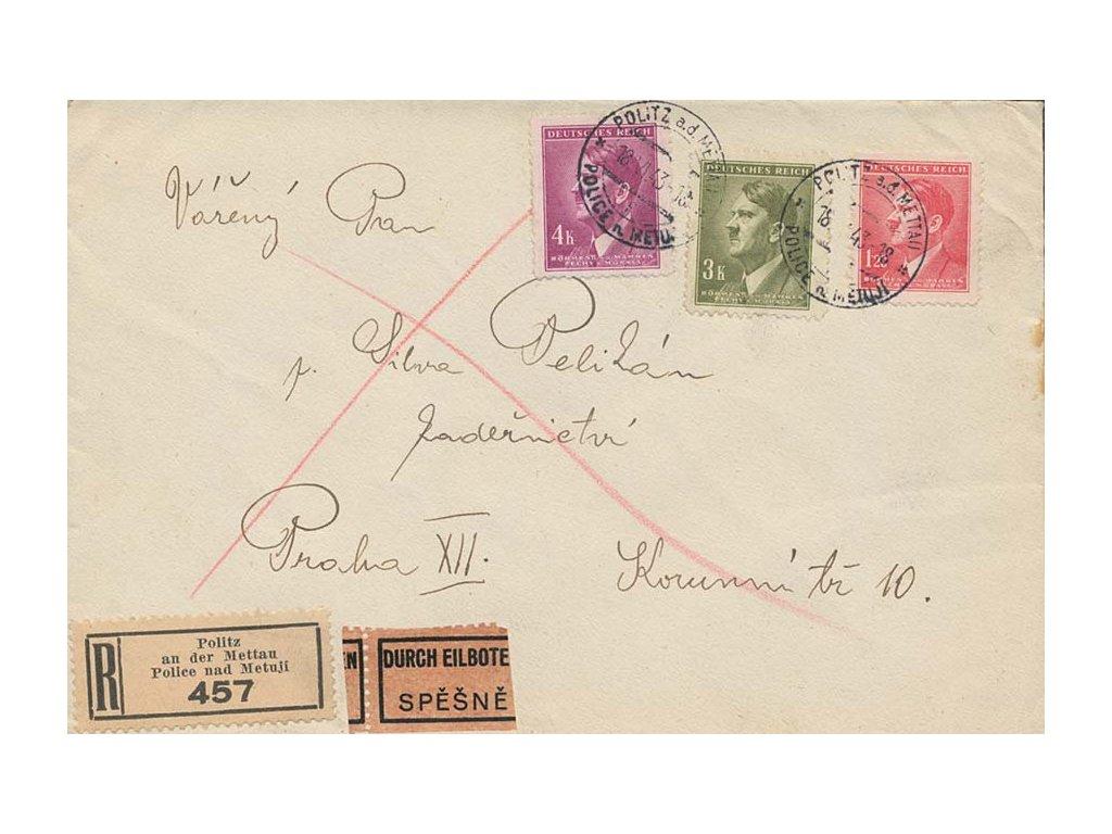 1943, DR Police nad Metují, R-Ex dopis zaslaný do Prahy