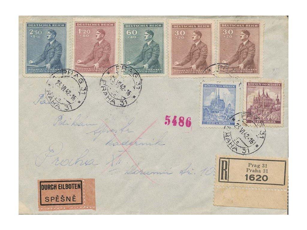 1942, DR Praha, R-Ex dopis zaslaný v Praze, dekorativní