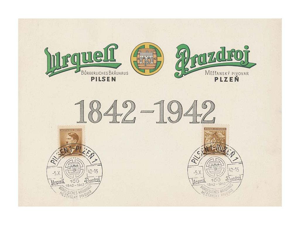 1942, Plzeň, Měšťanský pivovar, pamětní 2list A5, vlomy