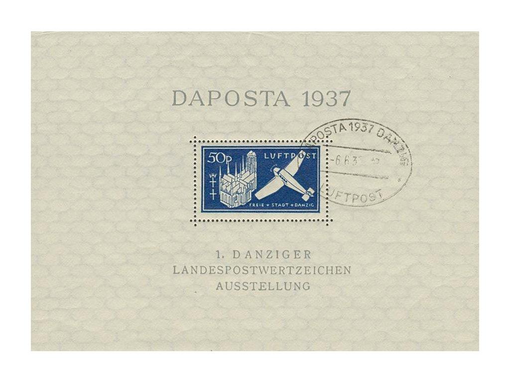 Danzig, 1937, 50Pf aršík Daposta, MiNr.Bl.2b, pamětní razítko, dv roh
