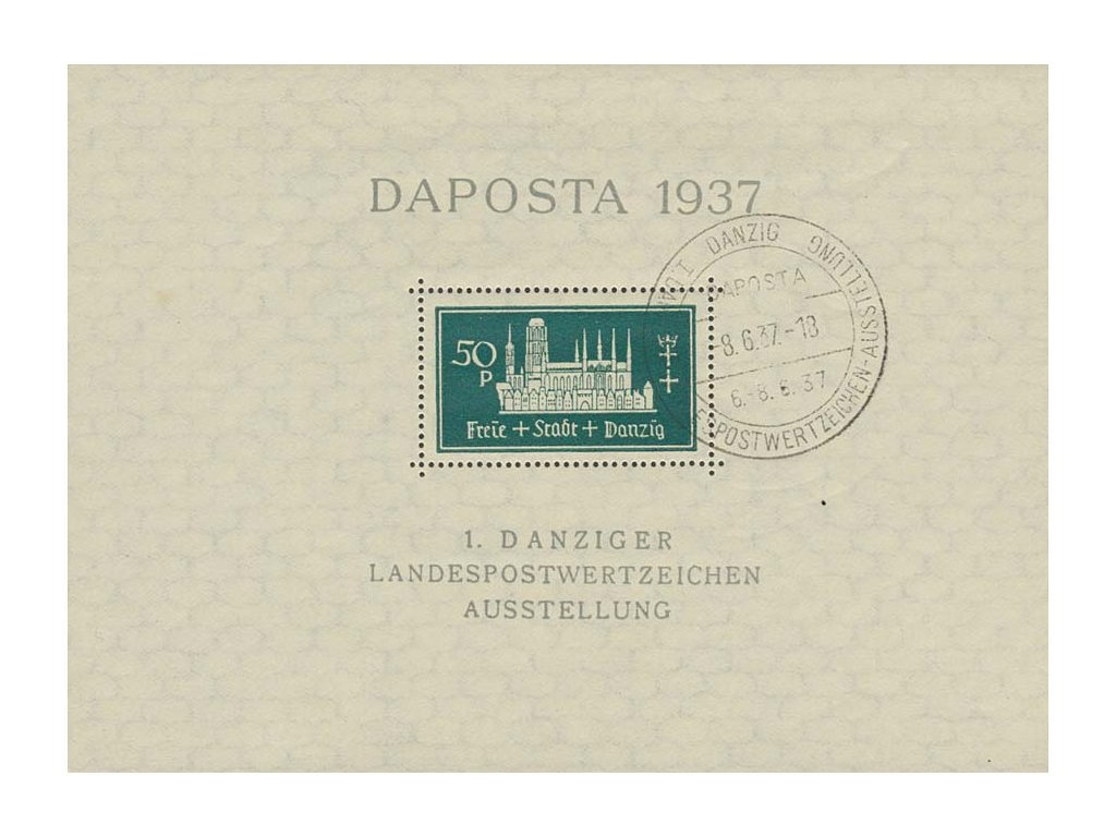 Danzig, 1937, 50Pf aršík Daposta, MiNr.Bl.1, pamětní razítko