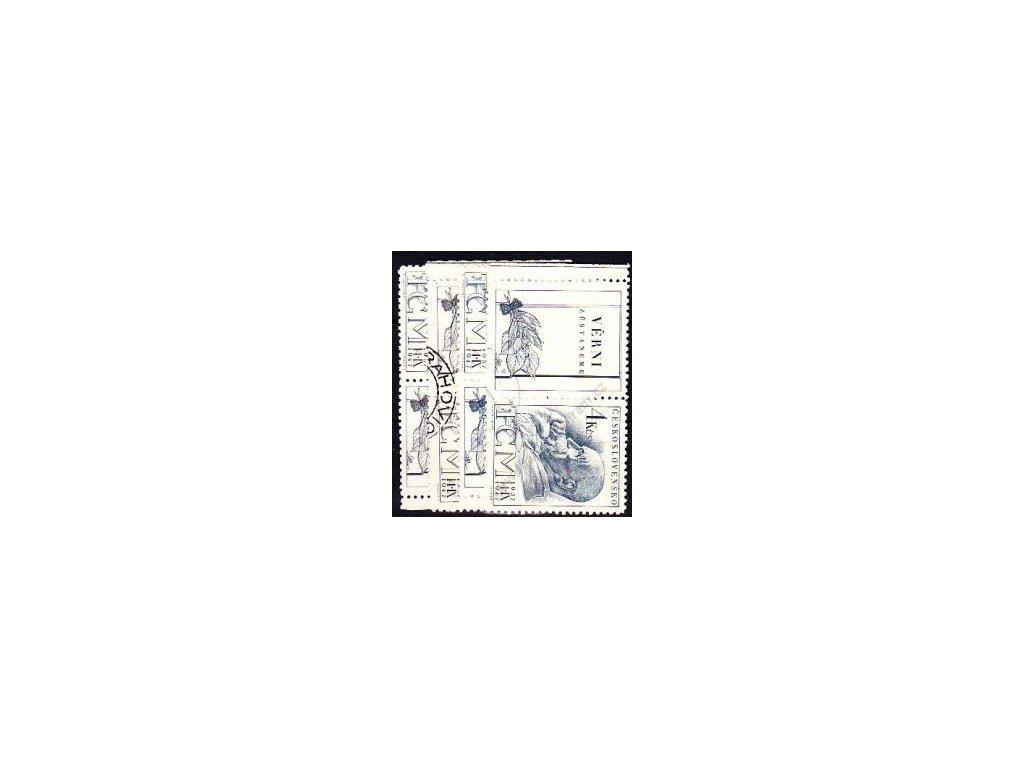 1.20-4Kčs Masaryk, levý a pravý kupon, Nr.458-9, razítkované, ilustrační foto