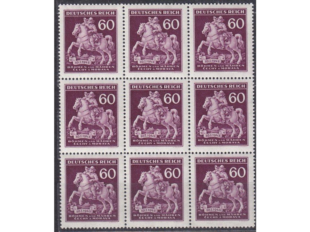 """1943, 60h Postilión, 9blok s DV uprostřed - římská """"7"""", ZP74, Nr.102, **"""
