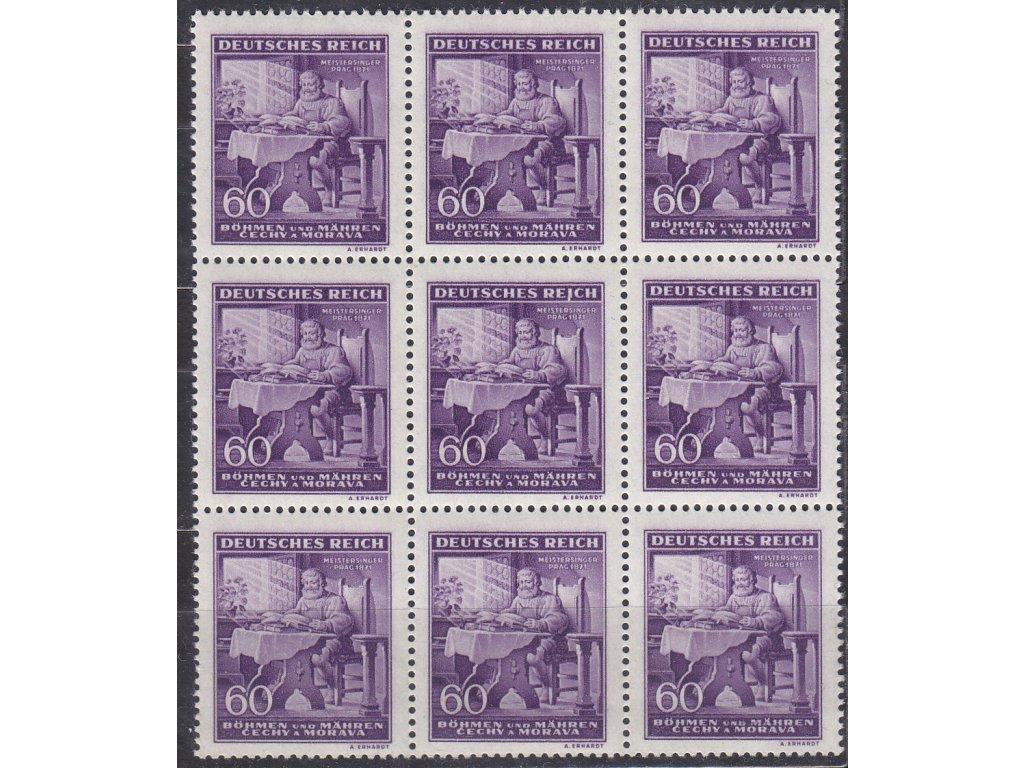 """1943, 60h Wagner, 9blok s DV uprostřed - bílá čárka pod """"I"""" REICH, Nr.108, **"""