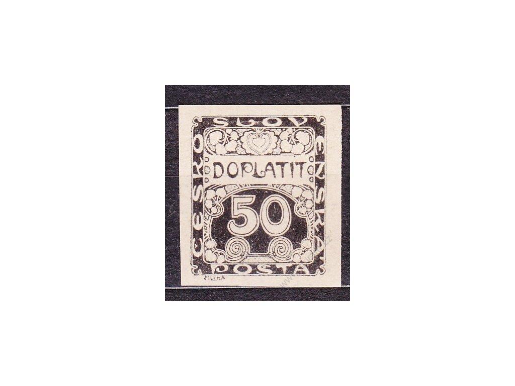 50h černá, ZT v černé barvě na nahnědlém papíru, Nr.DL8, bez lepu