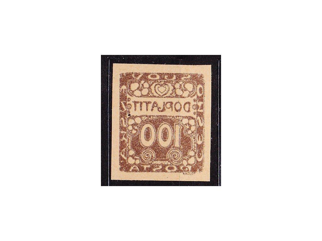 100h hnědá, ZT na nažloutlém papíru, plný obtisk, Nr.DL9, bez lepu