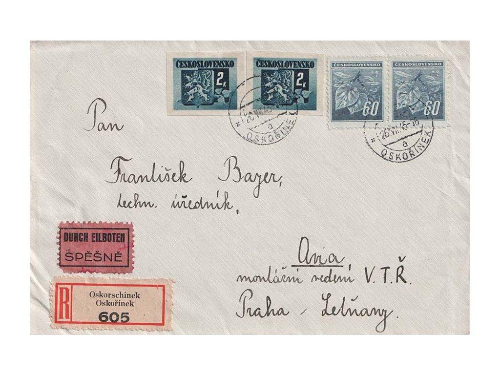 1945, DR Oskořínek, R-Ex dopis zaslaný do Prahy Letňan