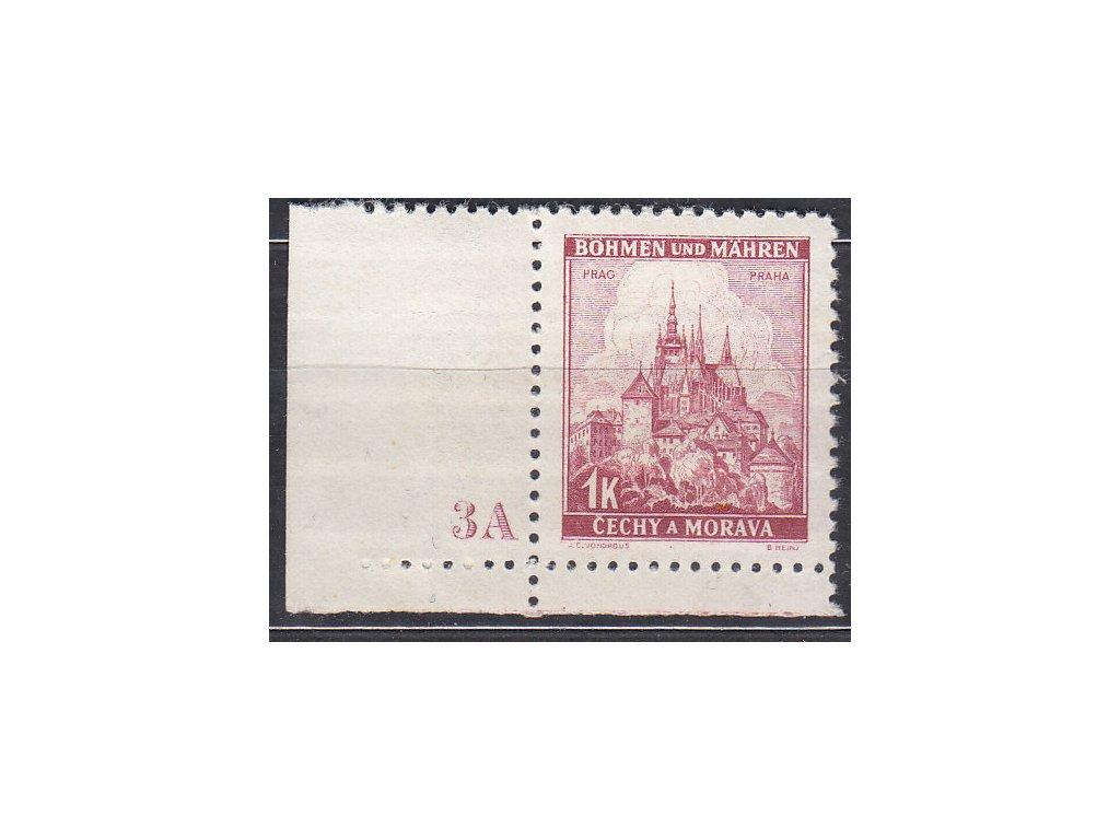 1939, 1K Praha, rohový kus s DČ3A, úzký okraj, Nr.31, **