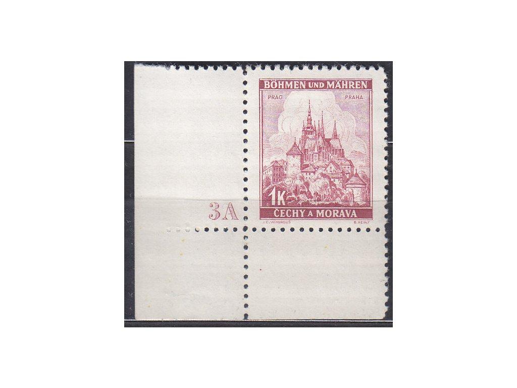 1939, 1K Praha, rohový kus s DČ3A, široký okraj, Nr.31, **